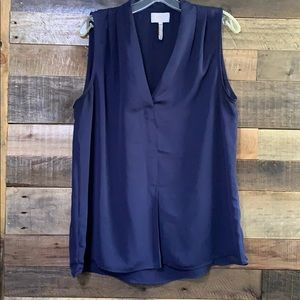 Navy blue Large tank blouse w/pleated shoulders